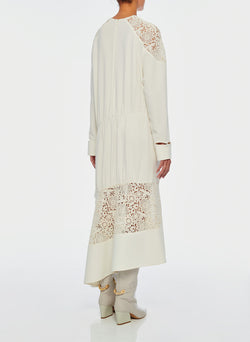 Guipure Lace Long Sleeve Dress Ivory-11