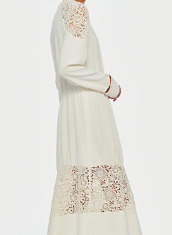 Guipure Lace Long Sleeve Dress Ivory-13