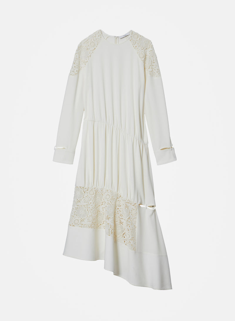 Guipure Lace Long Sleeve Dress Ivory-16
