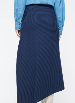 Merino Rib Sweater Origami Slit Skirt Navy-3