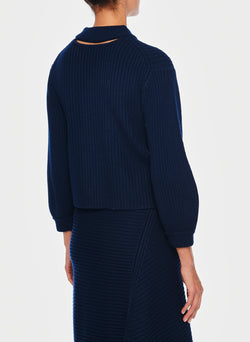 Merino Rib Sweater Origami Slit Skirt Navy-6