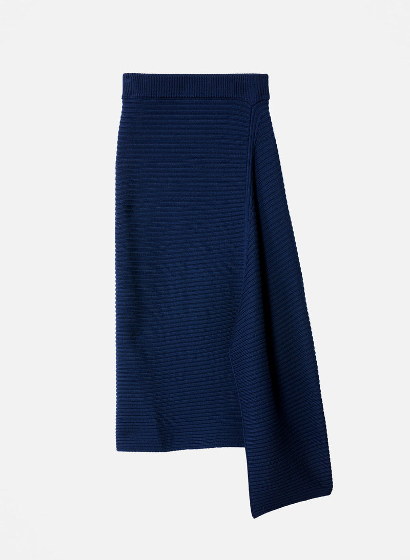 Merino Rib Sweater Origami Slit Skirt Navy-7
