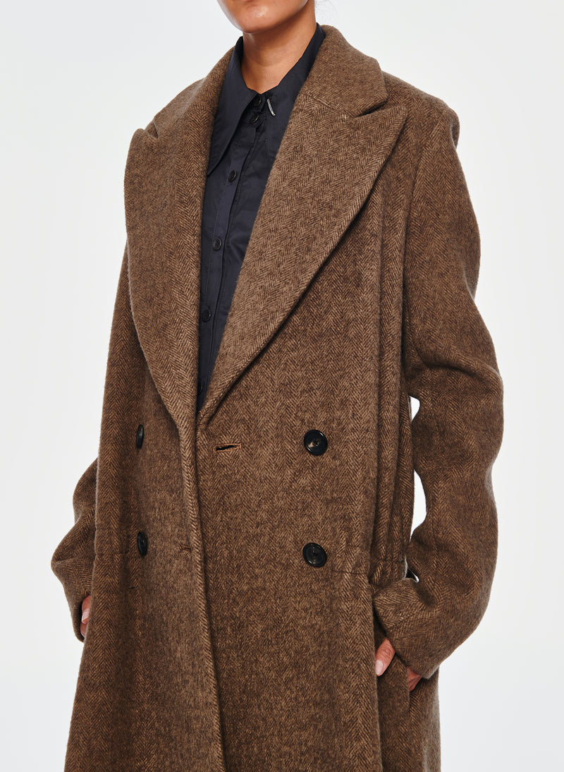 Plush Wool Dropwaist Coat Dark Brown-13