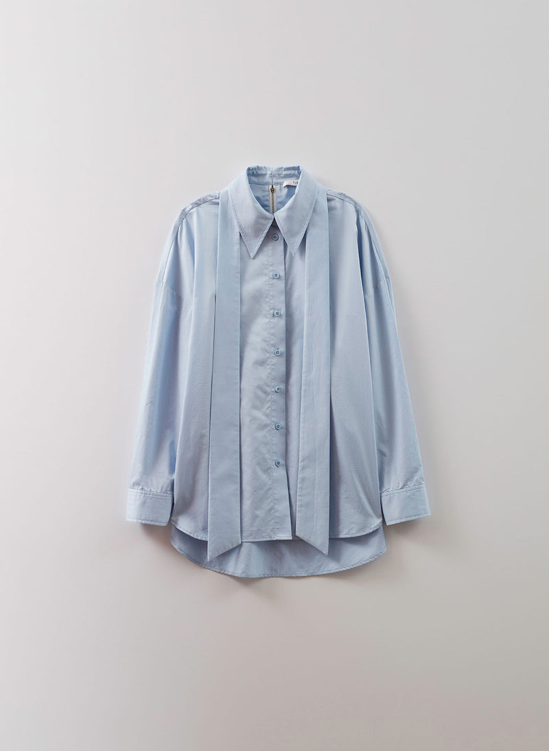 Satin Poplin Easy Shirt with Zipper and Tie Detail Morning Blue-6