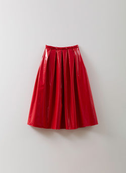 Shiny Trench Full Skirt Red-1