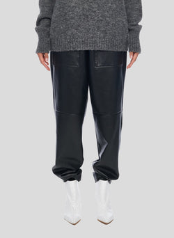 Tissue Leather Pull On Pant Black-1