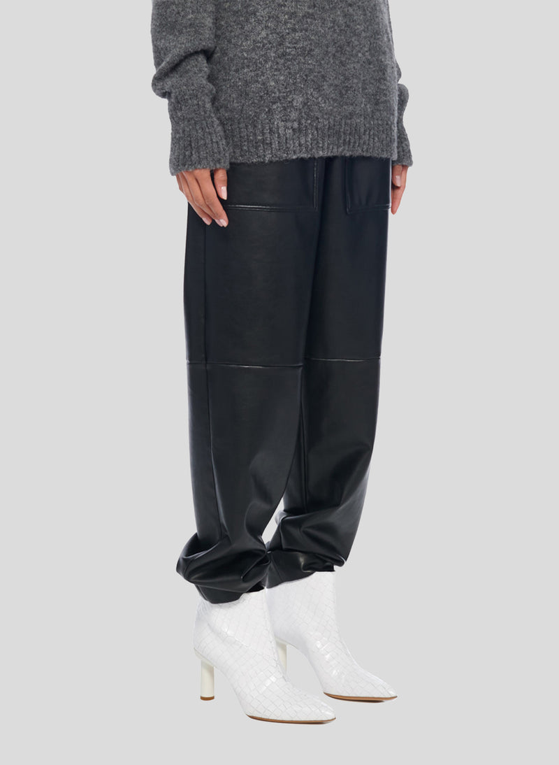 Tissue Leather Pull On Pant Black-2