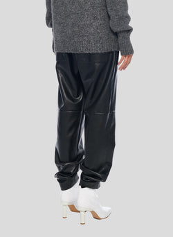 Tissue Leather Pull On Pant Black-3