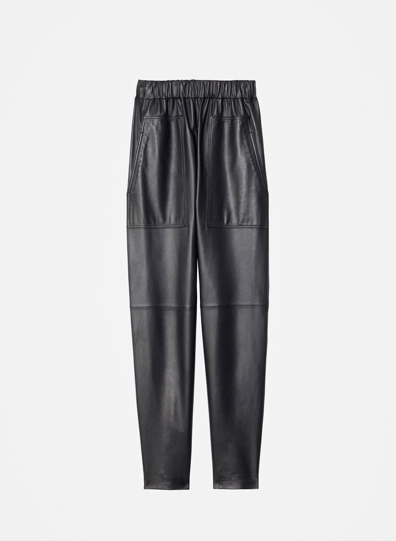 Tissue Leather Pull On Pant Black-8
