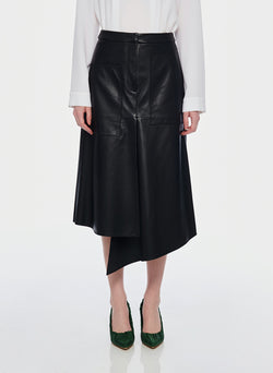Tissue Leather High Waisted Draped Skirt Black-1