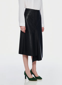 Tissue Leather High Waisted Draped Skirt Black-2