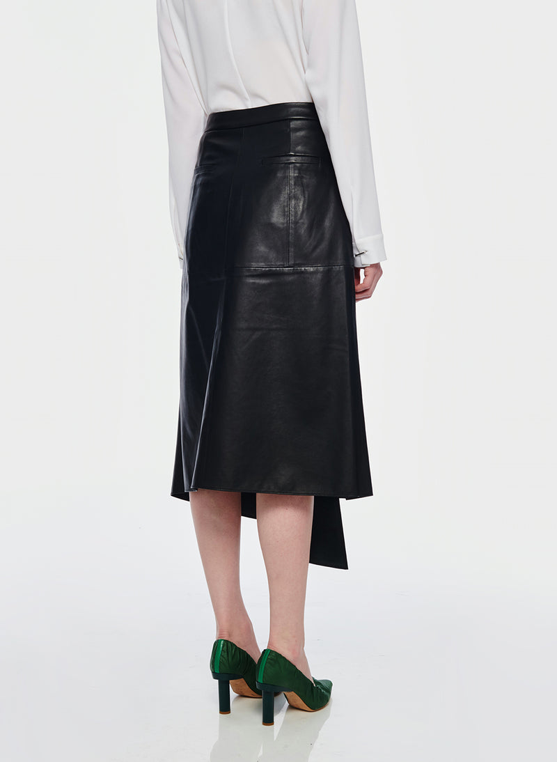 Tissue Leather High Waisted Draped Skirt Black-3