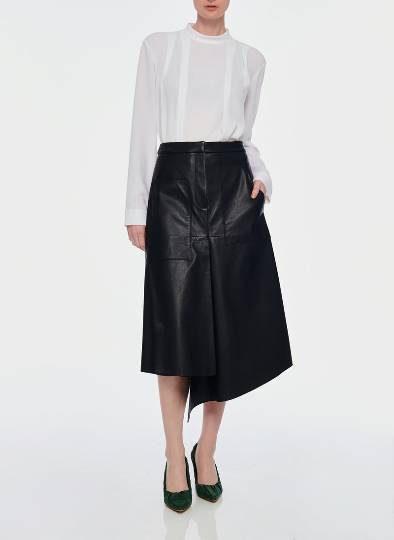 Tissue Leather High Waisted Draped Skirt Black-4