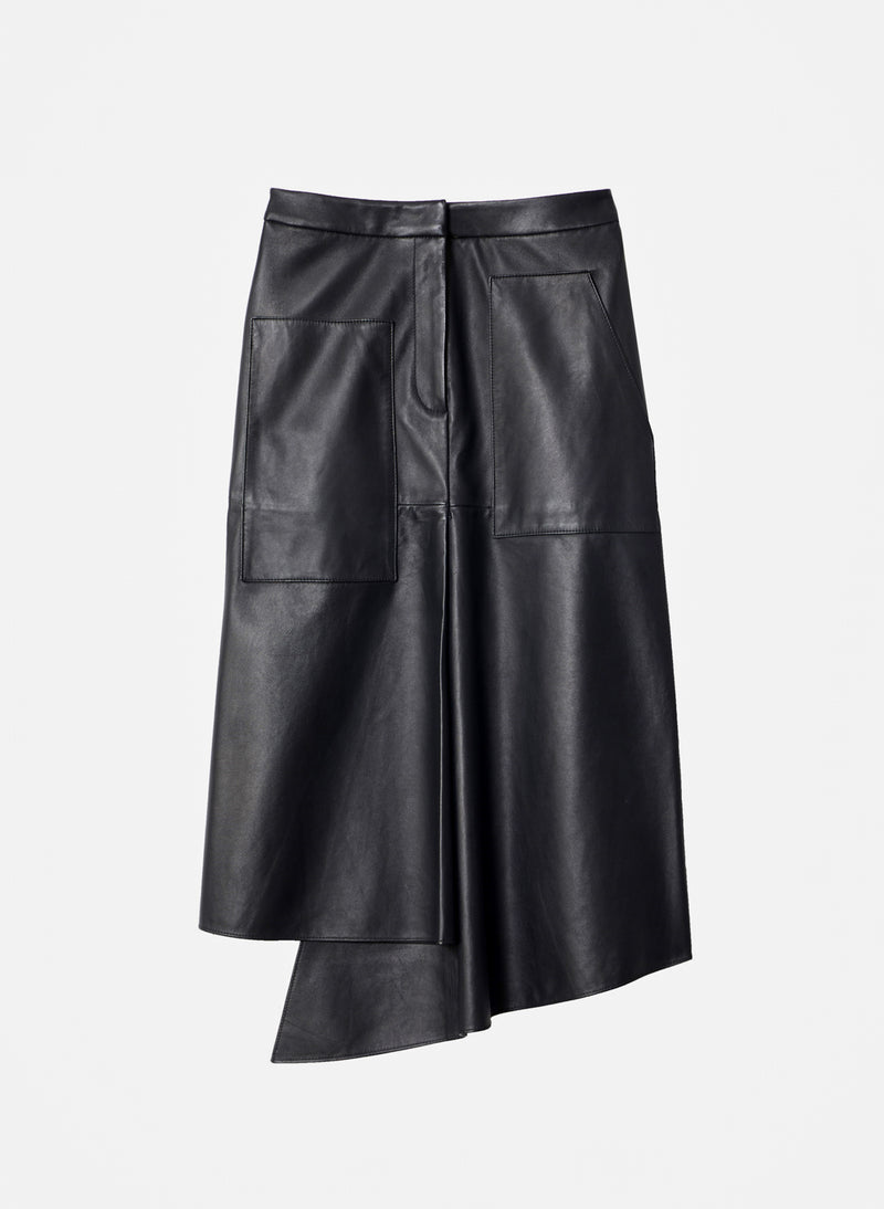 Tissue Leather High Waisted Draped Skirt Black-8
