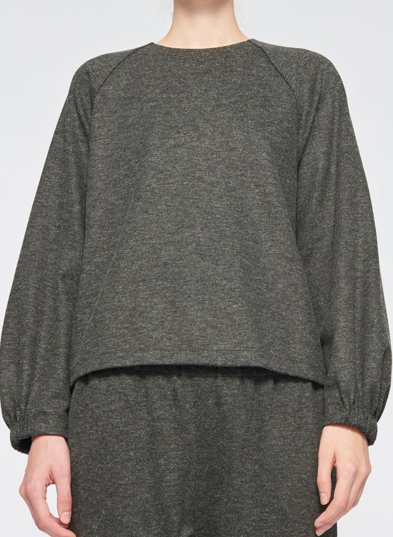 Tweedy Melange Cropped Sweatshirt Grey Melange-1