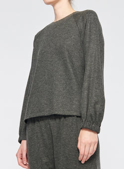 Tweedy Melange Cropped Sweatshirt Grey Melange-2