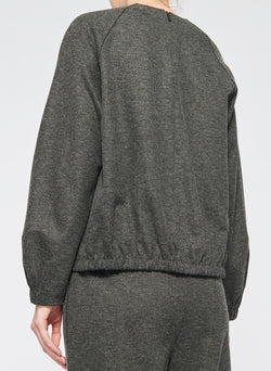 Tweedy Melange Cropped Sweatshirt Grey Melange-3