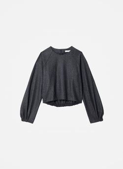 Tweedy Melange Cropped Sweatshirt Grey Melange-8