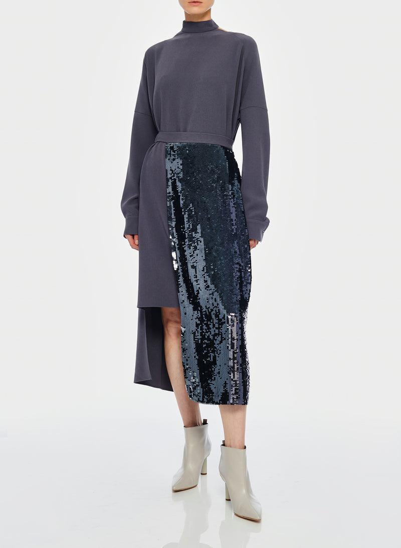 Triacetate Dress with Removable Sequin Panel Graphite-5