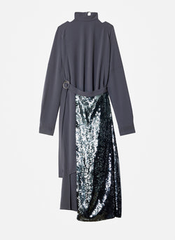 Triacetate Dress with Removable Sequin Panel Graphite-6