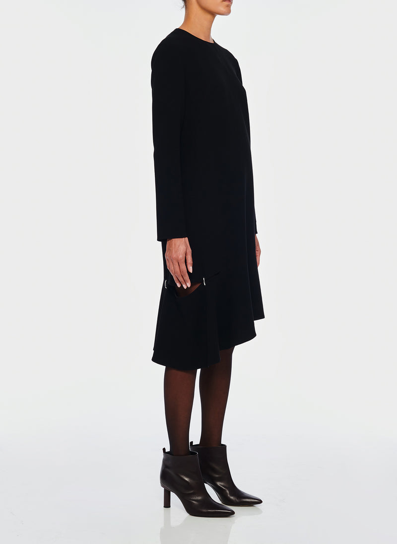 Triacetate Shift Dress Black-2