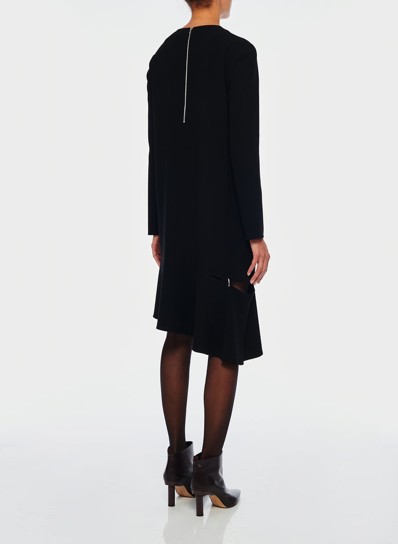 Triacetate Shift Dress Black-3