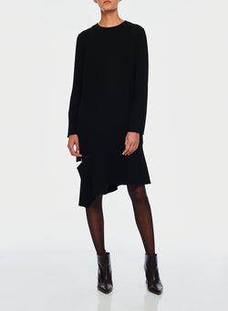 Triacetate Shift Dress Black-4