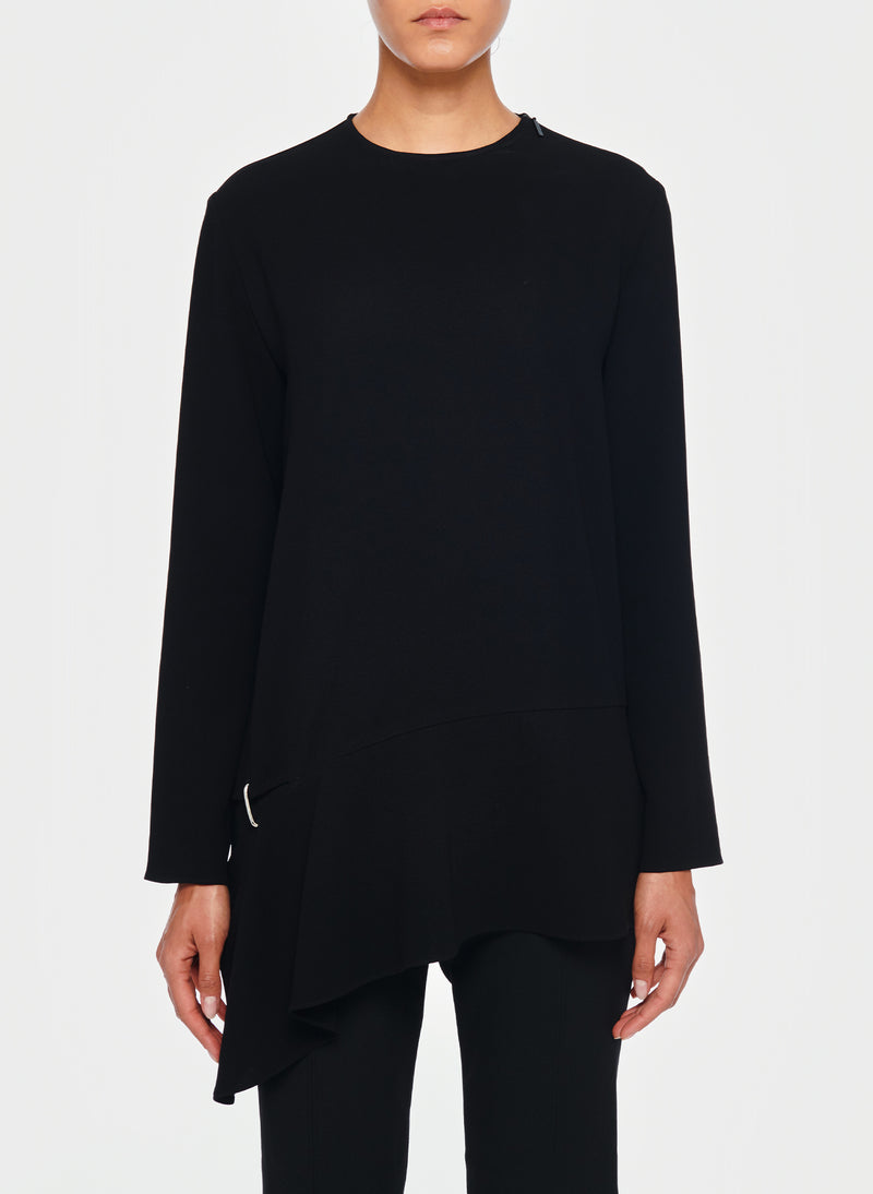 Triacetate Long Sleeve Top with Detached Hem Black-1