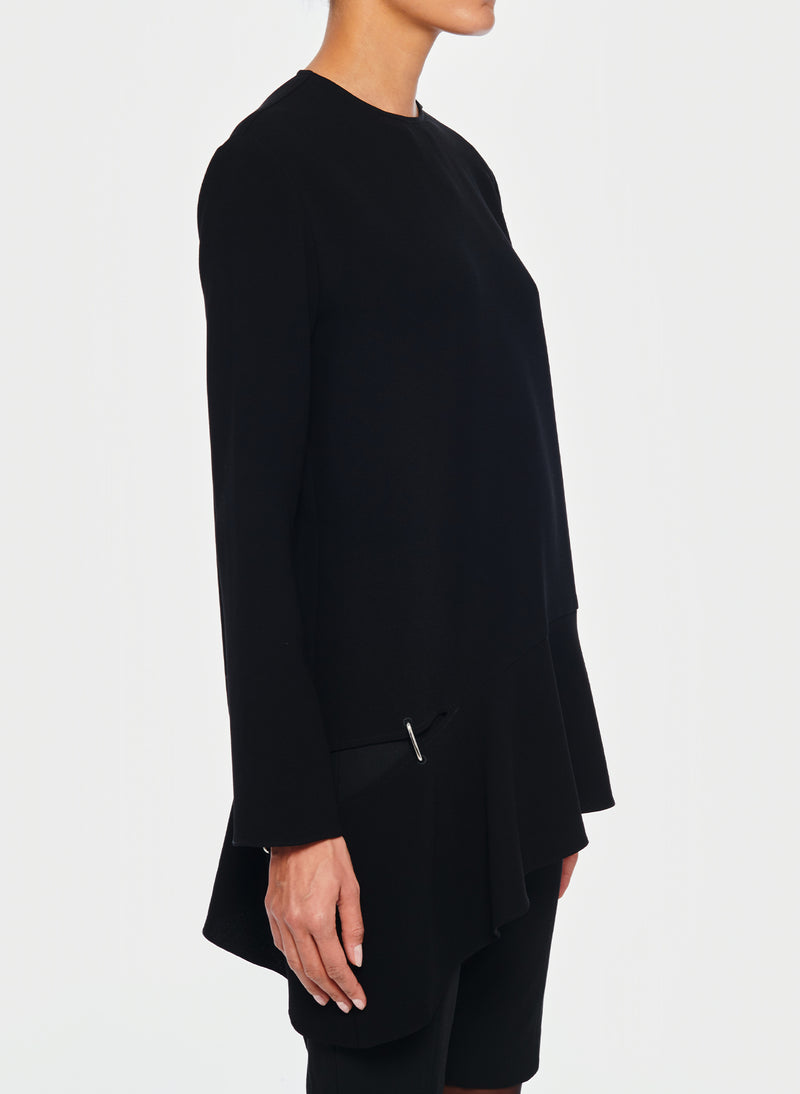 Triacetate Long Sleeve Top with Detached Hem Black-2