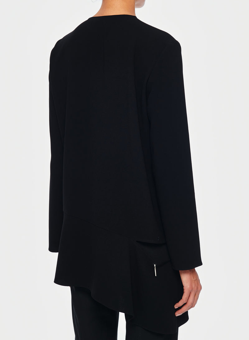 Triacetate Long Sleeve Top with Detached Hem Black-3