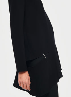 Triacetate Long Sleeve Top with Detached Hem Black-5