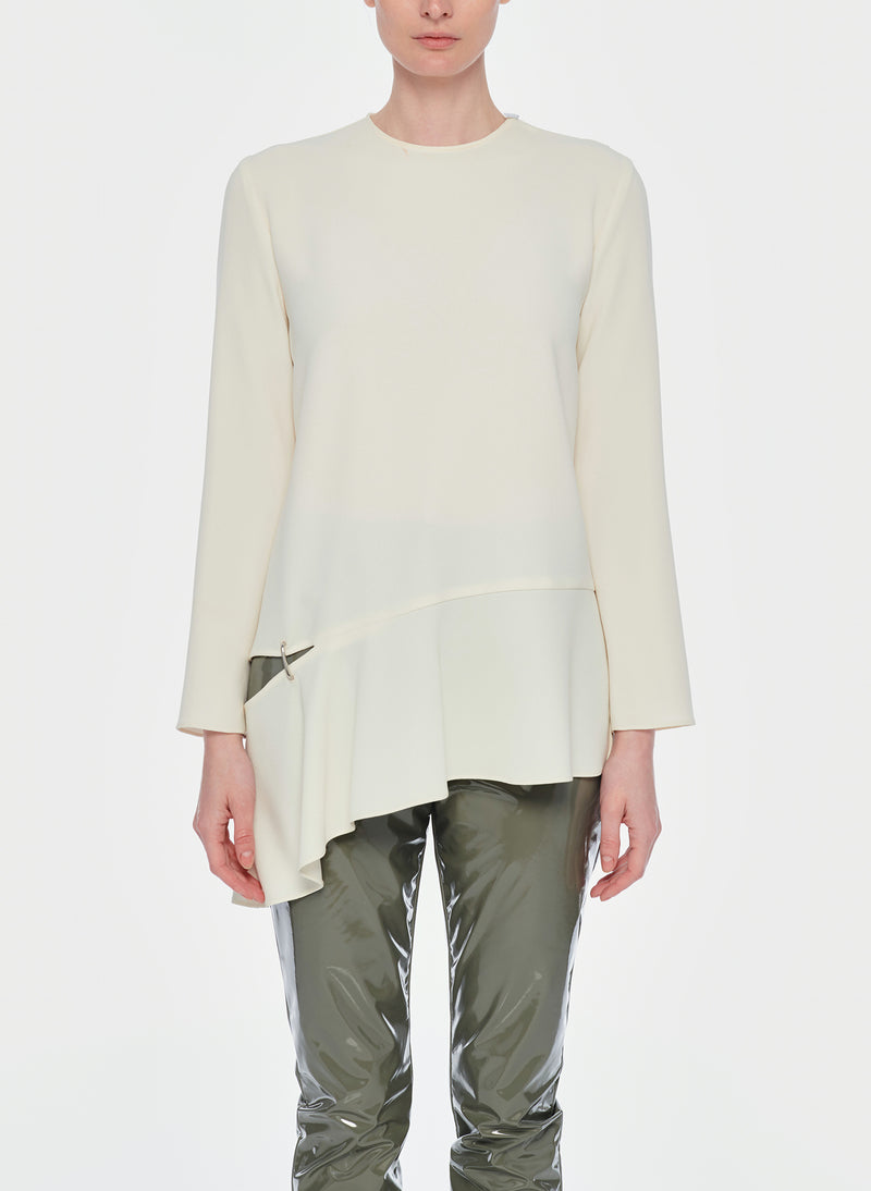 Triacetate Long Sleeve Top with Detached Hem Ivory-9