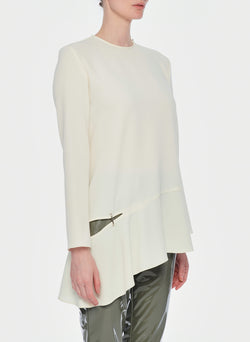 Triacetate Long Sleeve Top with Detached Hem Ivory-10