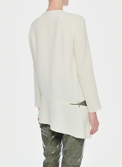 Triacetate Long Sleeve Top with Detached Hem Ivory-11