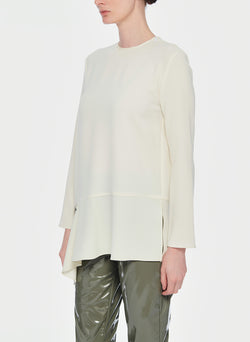 Triacetate Long Sleeve Top with Detached Hem Ivory-13