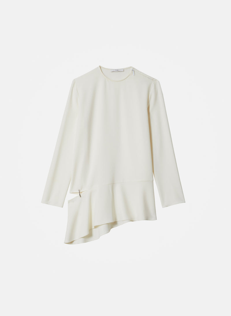 Triacetate Long Sleeve Top with Detached Hem Ivory-16
