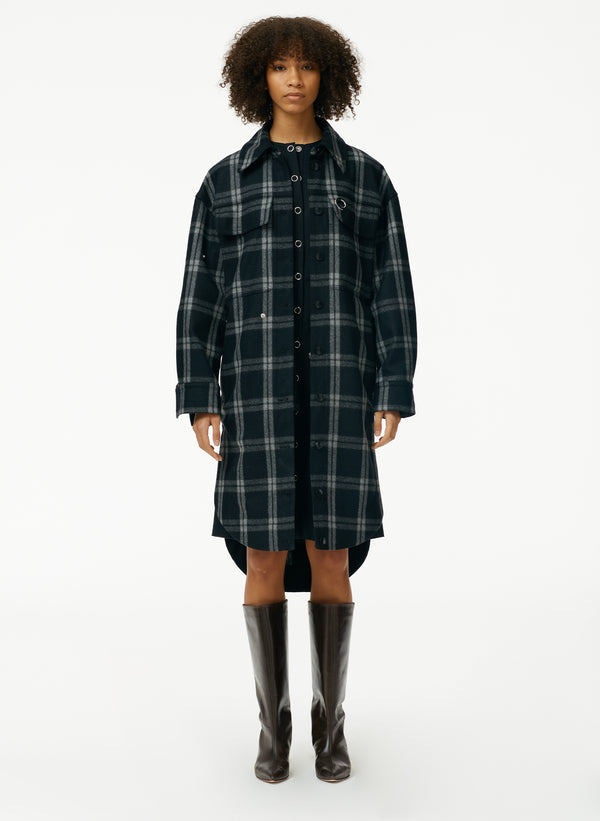 Recycled Chester Plaid Oversized Shirt Coat