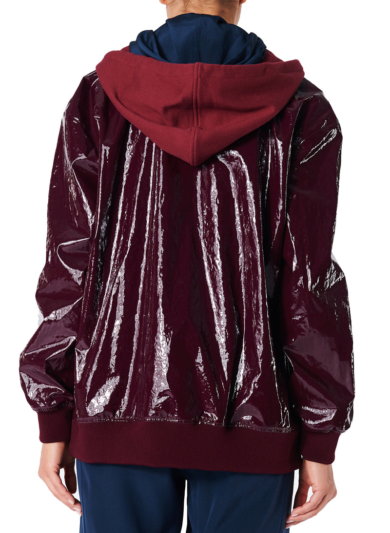 Coated Track Jacket with Removable Hood Burgundy-2