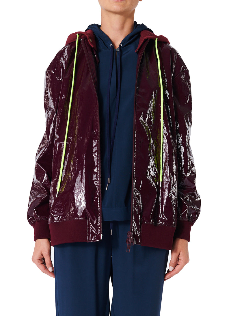 Coated Track Jacket with Removable Hood Burgundy-1