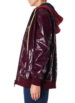 Coated Track Jacket with Removable Hood Burgundy-3