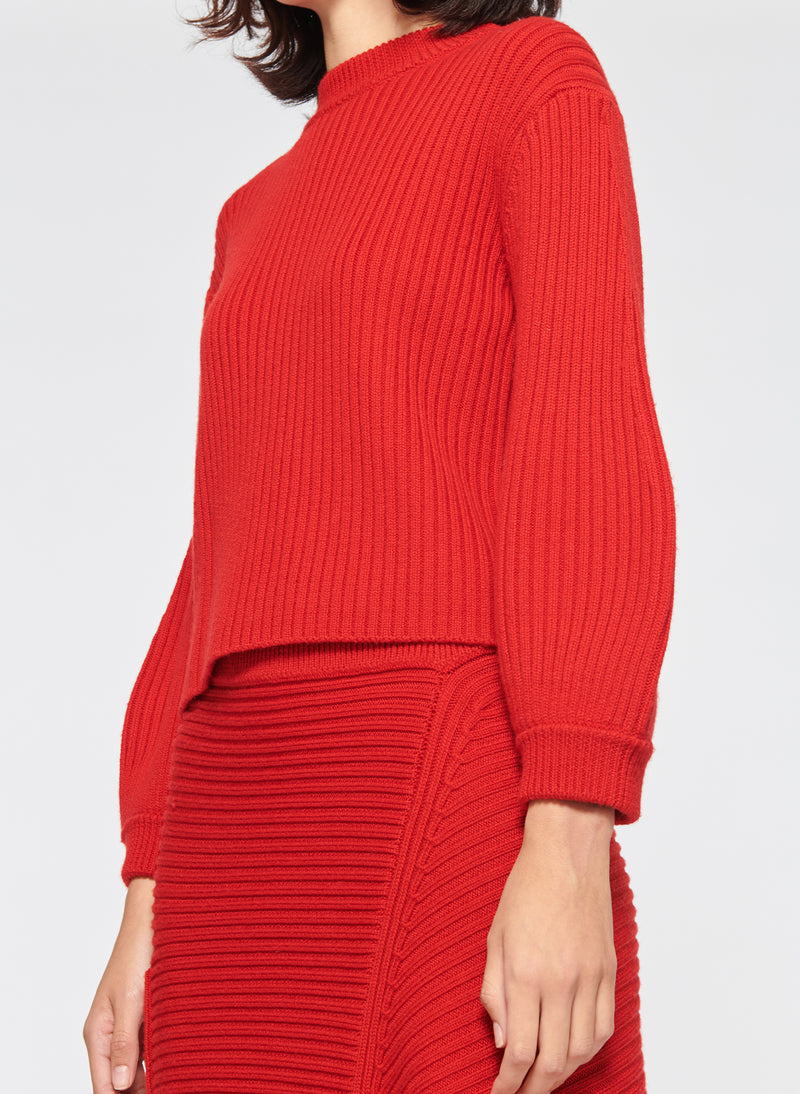 Merino Rib Sweater Slit Neck Pullover Brick Red-2