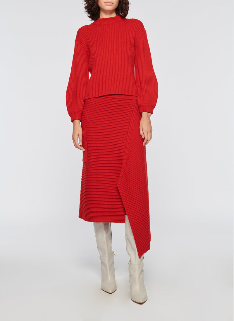 Merino Rib Sweater Slit Neck Pullover Brick Red-4
