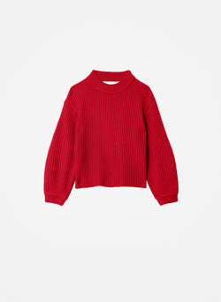 Merino Rib Sweater Slit Neck Pullover Brick Red-8