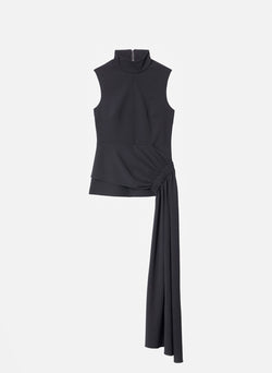 Structured Crepe Drape Mockneck Top Black-11