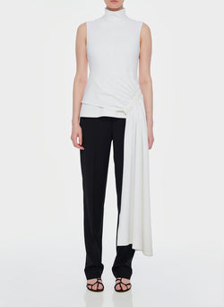 Structured Crepe Drape Mockneck Top White-1