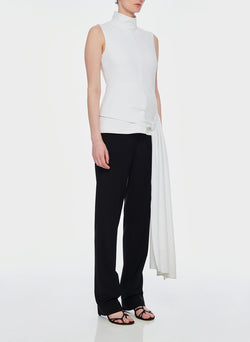 Structured Crepe Drape Mockneck Top White-2