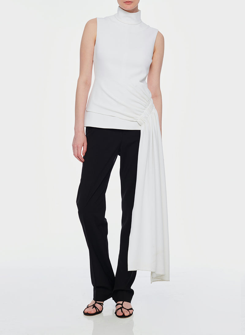 Structured Crepe Drape Mockneck Top White-4