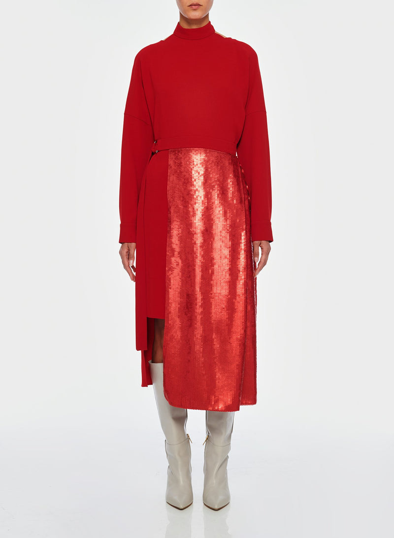 Triacetate Dress with Removable Sequin Panel Brick Red-1