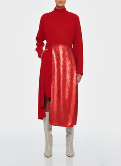 Triacetate Dress with Removable Sequin Panel Brick Red-5