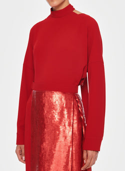 Triacetate Dress with Removable Sequin Panel Brick Red-4